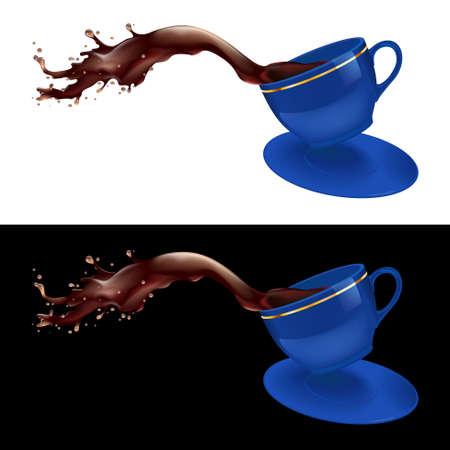 chicchi caff� su sfondo bianco: illustrazione di schizzi di caff� da una tazza. Design blu.
