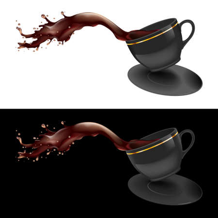illustration of coffee splashing out of a mug. Black design. Vector