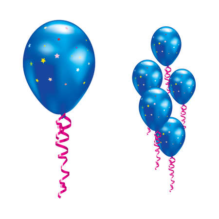 balloon border: Navy balloons with stars and ribbons.