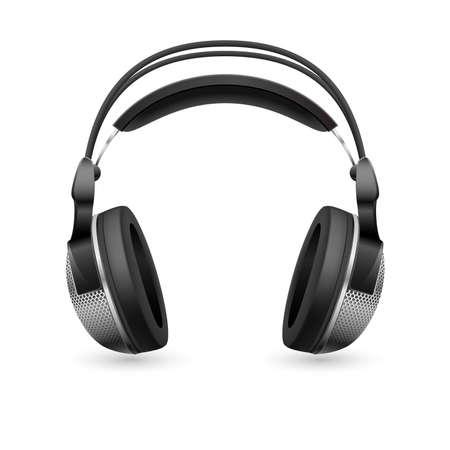 headset business: Computer di auricolare realistico. Illustrazione su sfondo bianco