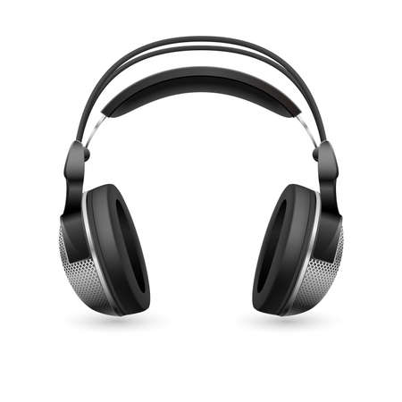 head phones: Realistic computer headset. Illustration on white background