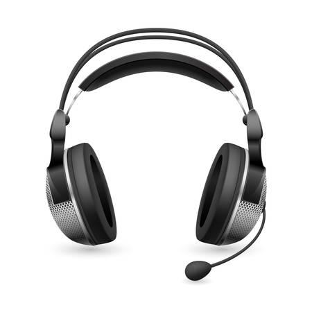 headset business: Auricolare con microfono computer realistico. Illustrazione su sfondo bianco  Vettoriali