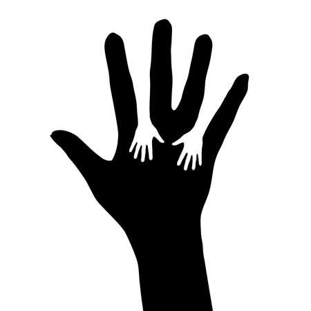 ayudando: Tender la mano. Ilustraci�n sobre fondo blanco para el dise�o Vectores