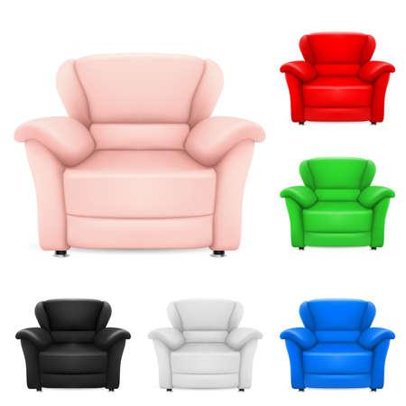 leather chair: Set colorati di eleganti sedie. Illustrazione su sfondo bianco