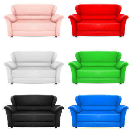 A set of multi-colored models of sofas. Illustration on white Vector
