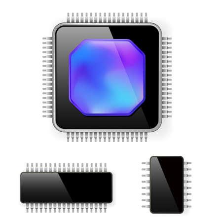 Computer-Mikroschaltung. Abbildung auf weißem Hintergrund für design Vektorgrafik