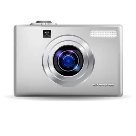 reflex: Semplice fotocamera digitale. Illustrazione su sfondo bianco