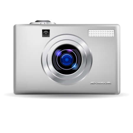 Simple digital camera. Illustration on white background Stock Vector - 9892487