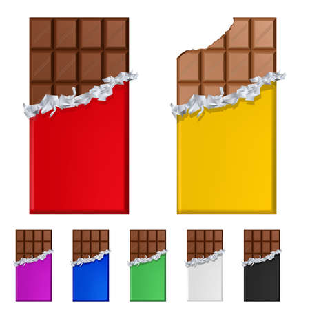 Conjunto de barras de chocolate en envoltorios coloridos. Ilustración sobre fondo blanco