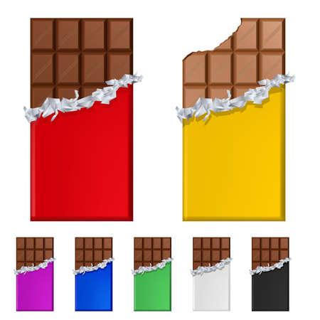 casse-cro�te: Ensemble de barres de chocolat dans des wrappers color�s. Illustration sur fond blanc Illustration