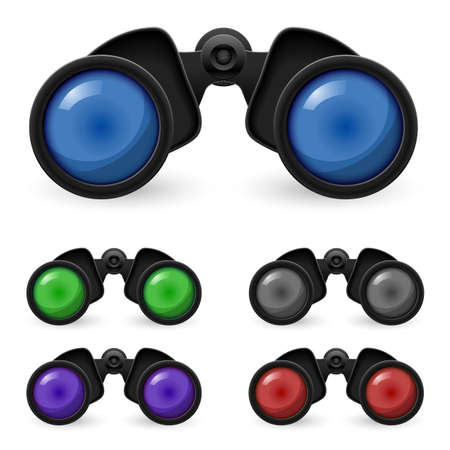 binoculars: Set of realistic binoculars. Illustration on white background  Illustration