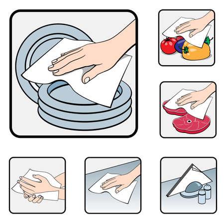 white napkin: Napkin in the kitchen. Illustration on white background