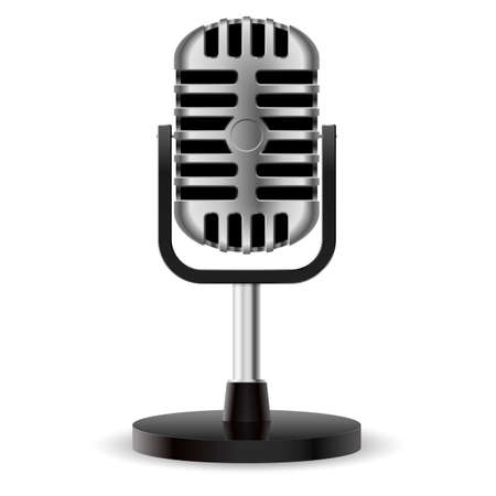 mike: Realistic retro microphone. Illustration on white background for design