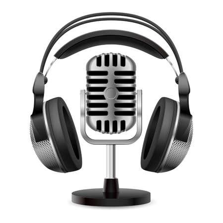 Realistische Retro-Mikrofon und Kopfhörer. Illustration auf weißem Hintergrund für Design Vektorgrafik