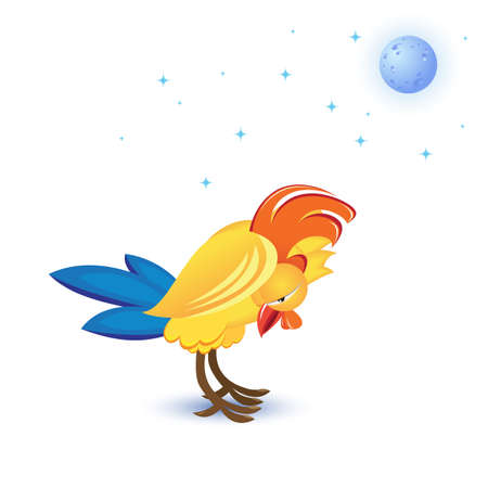 Cartoon sleeping cock. Illustration on white background Vector