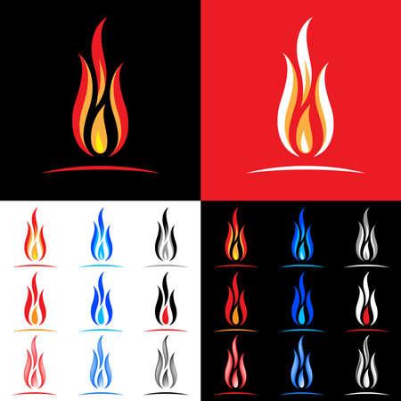 palla di fuoco: Fuoco icone collezione. Illustrazione su sfondo bianco, nero e rosso