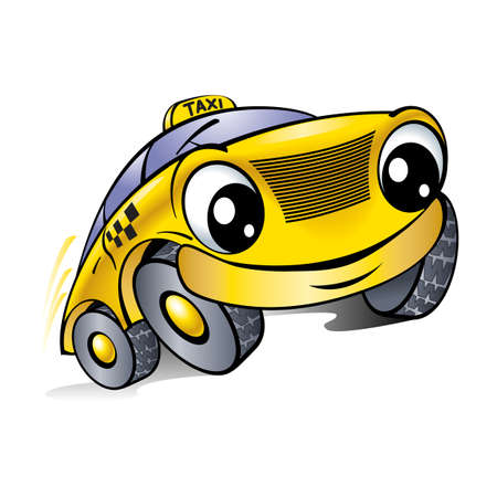 Coche con una cara sonriente. Taxi. Ilustración en blanco.