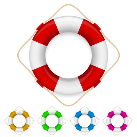 preserver: Set of life buoys. Illustration on white background