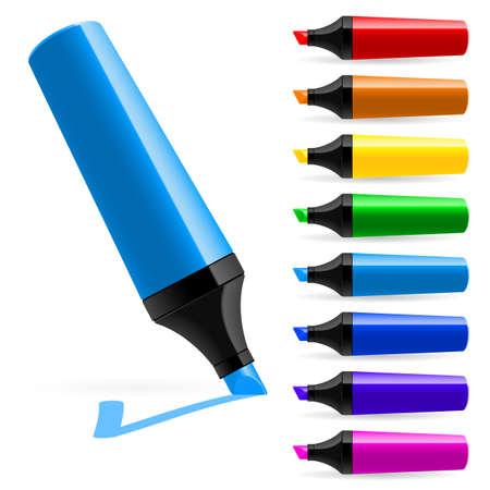 Marcadores de varios colores realistas. Ilustración sobre fondo blanco