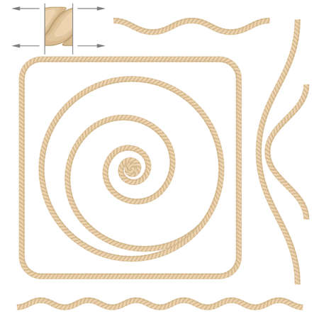 laundry concept: Abstract beige rope. Illustration on white background
