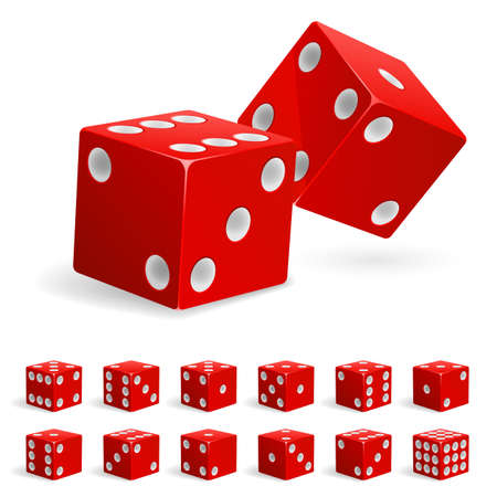 Set realistic red dice. Illustration on white background Vector