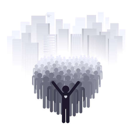 Love for the big city. Abstract illustration of a designer on a white background Stock Vector - 9933592