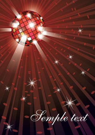 retro disco: Ilustraci�n vectorial de bola de discoteca mirror sobre fondo rojo