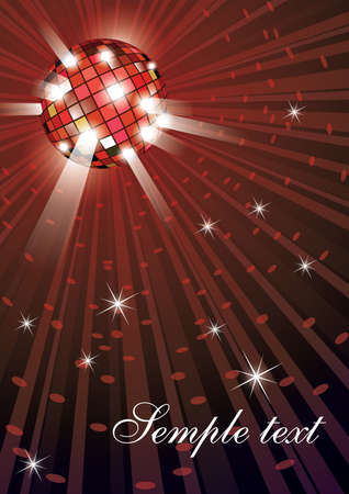 evening ball: Vector illustration of mirror disco ball on red background