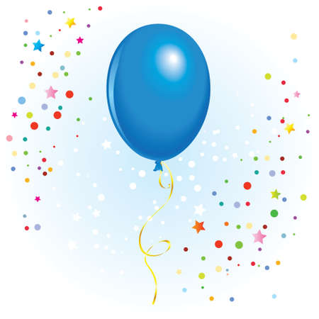 Blauer Ballon mit baumelndem gelocktem Band im Vektorformat