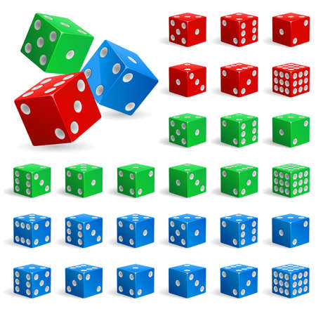 Set of realistic dice. Illustration for design on white background Vector