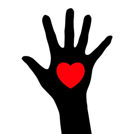 Abstract black hand with a heart. Illustration for design on white background