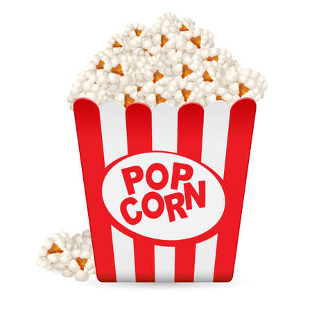 Popcorn in a striped tub. Illustration on white background Vector