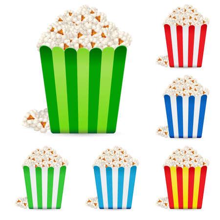 popcorn: Popcorn in pacchetti a strisce multicolori. Illustrazione su sfondo bianco