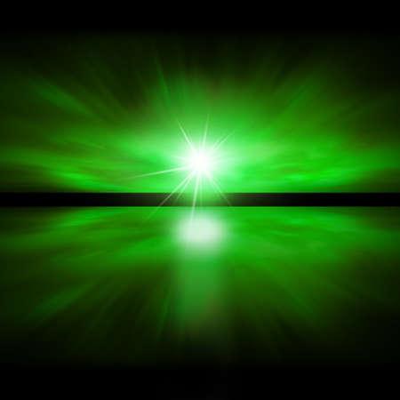 over the sea: Sky of Green Light - fractal landscape