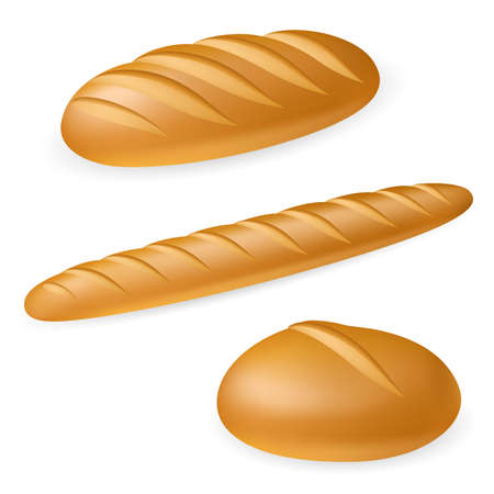 baker: Three realistic bread. Illustration on white background
