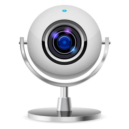 cam: Realistic computer web cam. Illustration on white background