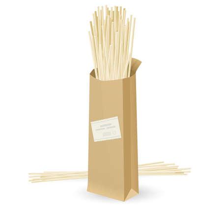 uncooked: Realistic package spaghetti. Illustration on white background   Illustration