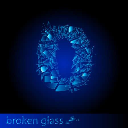 One symbol of broken glass - digit zero. Illustration on black background Vector