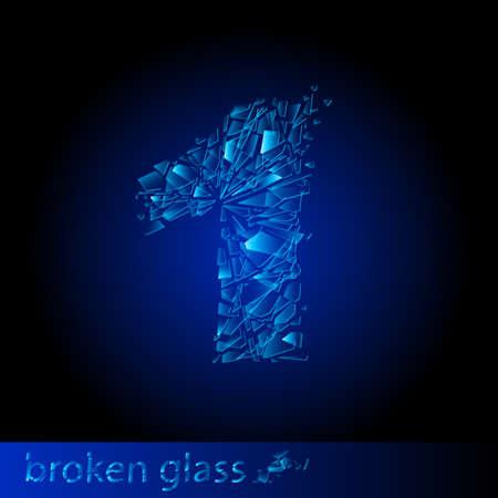 One symbol of broken glass - digit one. Illustration on black background Vector