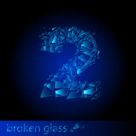 One symbol of broken glass - digit two. Illustration on black background Stock Vector - 10025419