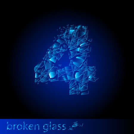 destroy: One symbol of broken glass  - digit four. Illustration on black background