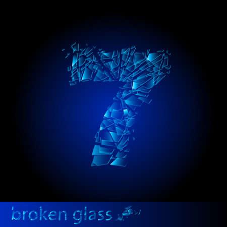 One symbol of broken glass  - digit seven. Illustration on black background Vector