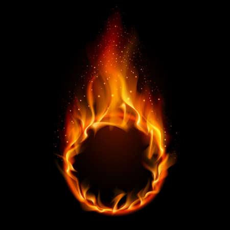 fire ring: Anillo de fuego. Ilustraci�n sobre fondo negro de dise�o Vectores