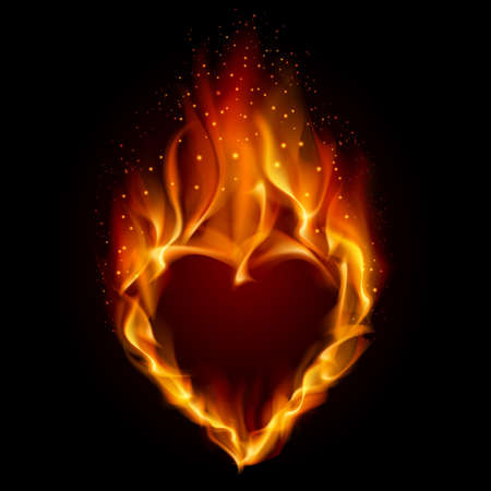 Heart in Fire. Illustration on black background for design