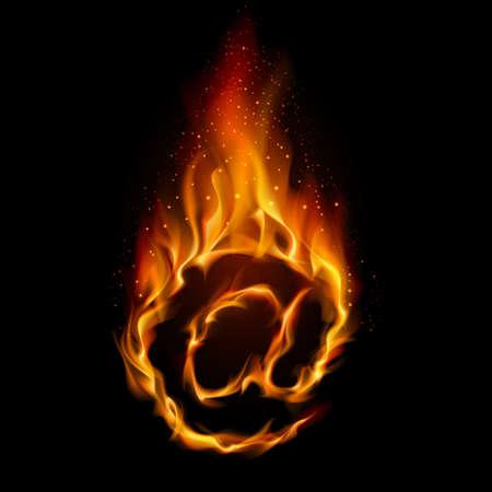 lettre de feu: Symbole abstrait d'AT. Flamme-simul� sur fond noir.