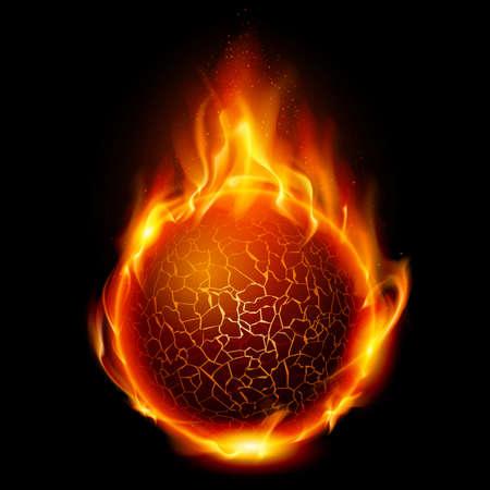 Bola de fuego. Ilustración sobre fondo negro de diseño Ilustración de vector