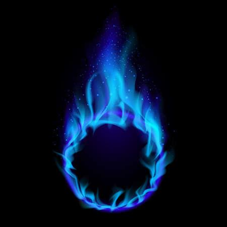 infierno: Anillo azul de fuego. Ilustraci�n sobre fondo negro de dise�o