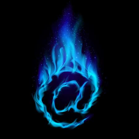 Abstrakt Symbol AT. Blaue Flamme simuliert auf schwarzem Hintergrund.