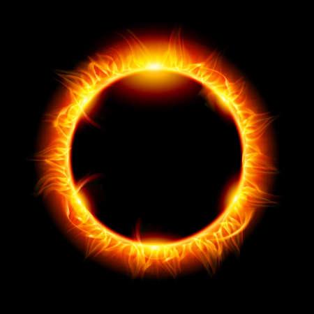 totales: Eclipse solar. Ilustraci�n sobre fondo negro de dise�o