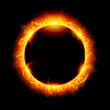 Solar eclipse. Illustration on black background for design Illustration